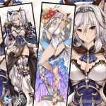 1girl animal_ears arm_up armlet armor armored_boots armored_dress armpits bangs bare_shoulders belt black_gloves blush boots braid breasts brown_eyes cape cleavage collarbone covered_navel cross-laced_legwear dakimakura diadem dress elbow_gloves erun_(granblue_fantasy) flower gloves granblue_fantasy greaves hair_between_eyes hair_tubes hat heles hips large_breasts long_hair one-piece_swimsuit parted_lips pauldrons pillow sarong sidelocks silver_hair single_braid single_pauldron smile strap_pull straw_hat swimsuit thighs tony_guisado vambraces waist watermark web_address white_dress white_swimsuit