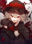 1girl bat_wings black_dress dress fangs flower highres looking_at_viewer nail_polish no-kan open_mouth puffy_short_sleeves puffy_sleeves red_eyes red_rose remilia_scarlet rose short_hair short_sleeves silver_hair solo touhou wings wrist_cuffs