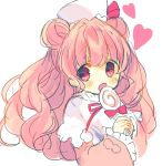 1girl :o bangs blush candy capelet coat commentary_request double_bun eyebrows_visible_through_hair food hat heart holding holding_lollipop lollipop long_hair long_sleeves looking_at_viewer nekotorina open_mouth original pink_eyes pink_hair pom_pom_(clothes) red_coat red_ribbon ribbon simple_background sketch solo sparkle sparkling_eyes swirl_lollipop two-handed white_background white_capelet white_hat wide_sleeves