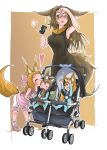 4girls :3 :d ^_^ absurdres animal_ears armpits bangs bare_arms bike_shorts black_dress blush breasts brown_background brown_eyes brown_hair can cheek_kiss child closed_eyes commentary_request doitsuken dress energy_drink fang fox_ears fox_tail hand_up hands_up heart highres holding holding_can kiss leaning_forward lipstick looking_down makeup medium_breasts multiple_girls one_eye_closed open_mouth original pajamas parted_lips pink_footwear pink_shirt red_lipstick shirt short_hair simple_background smile socks standing stroller stuffed_toy tail tail_hug toddler torii under-rim_eyewear wiping_forehead yellow-framed_eyewear