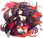 1girl abusoru akagi_(azur_lane) animal_ears azur_lane bangs black_gloves black_hair black_legwear breasts cleavage closed_mouth cropped_legs fire fox_ears fox_tail gloves highres japanese_clothes large_breasts long_hair miniskirt multiple_tails partly_fingerless_gloves red_eyes red_skirt shiny shiny_hair simple_background skirt smile solo tail thigh-highs white_background wide_sleeves