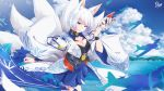 1girl aircraft airplane animal_ears artist_name azur_lane bangs blue_eyes blue_skirt blue_sky breasts clouds cloudy_sky commentary_request day fox_ears fox_mask hakama_skirt highres holding holding_mask japanese_clothes kaga_(azur_lane) kimono kitsune looking_at_viewer masabodo mask ocean open_clothes open_kimono outdoors parted_lips pleated_skirt revision short_hair skirt sky small_breasts smile solo tsurime white_hair white_kimono