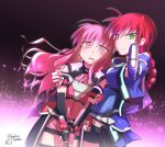 >:| 2girls amitie_florian arm_around_shoulder armor artist_name blue_jacket blue_jumpsuit blue_skirt braid elbow_gloves energy_gun gauntlets gloves green_eyes gun holding holding_gun holding_weapon jacket kyouka_kyouka kyrie_florian light_particles long_hair lyrical_nanoha magical_girl mahou_shoujo_lyrical_nanoha_the_movie_3rd:_reflection multiple_girls overskirt parted_lips pink_hair pink_jumpsuit pink_skirt pointing pointing_at_viewer ray_gun redhead serious short_jumpsuit siblings signature single_braid sisters skirt tearing_up thigh_gap twitter_username violet_eyes weapon wind