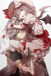 2girls bat_wings blue_eyes bow carrying eyelashes hat hat_ribbon highres hug izayoi_sakuya knife lavender_hair looking_at_viewer maid_headdress mob_cap multiple_girls no-kan one_eye_closed red_bow red_eyes red_ribbon remilia_scarlet ribbon short_sleeves silver_hair simple_background smile touhou white_background wings wrist_cuffs