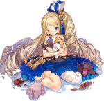 1girl artist_request bandaid bangs bare_shoulders bird blonde_hair blue_eyes dress drill_hair elephant flower full_body hair_flower hair_ornament long_hair looking_at_viewer official_art one_eye_closed oshiro_project oshiro_project_re panda pheasant schloss_schonbrunn_(oshiro_project) sitting solo swept_bangs torn_clothes torn_dress turkey twin_drills very_long_hair