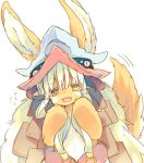 1girl :3 :d animal_ears bangs blunt_bangs ears_through_headwear eyebrows_visible_through_hair flying_sweatdrops furry hat horizontal_pupils horns long_hair looking_at_viewer made_in_abyss nanachi_(made_in_abyss) nekotorina open_mouth paws smile solo standing sweatdrop tail tail_wagging whiskers white_hair
