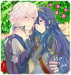1boy 1girl azur_(fire_emblem) blue_eyes blue_hair blush couple cute fire_emblem fire_emblem:_kakusei fire_emblem_awakening flower holding holding_hands inigo_(fire_emblem) intelligent_systems jupiter_lawueki long_hair love lucina lucina_(fire_emblem) nintendo purple_eyes short_hair smile super_smash_bros. tiara white_hair