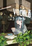 1girl 4boys aqua_hair bartender beamed_semiquavers black_neckwear blue_eyes bottle brown_hat brown_pants cafe cap cellphone coffee_beans cup earphones earphones faceless faceless_male formal hat hatsune_miku highres inside jar long_hair looking_at_viewer mug multiple_boys musical_note pants papers pen phone plant poster_(object) sitting smartphone stool suit sweater through_window twintails vest vocaloid yum_(unlucky)