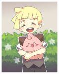 1boy blonde_hair child cleffa closed_eyes gladio_(pokemon) open_mouth pokemon pokemon_(creature) pokemon_(game) pokemon_sm short_hair shorts smile vest younger yoyterra