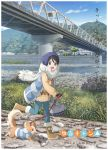 1girl bag black_hair blue_eyes boots bridge coat dog highres key_visual knit_hat leash official_art open_mouth river saitou_ena scarf short_hair sweater text translation_request winter_clothes winter_coat yurucamp