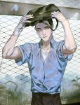 1boy bag bandage bandage_on_face bandaged_hands black_eyes black_hair bookbag covering_head cross_(togano) fence highres kiryuu_kazuma rain ryuu_ga_gotoku ryuu_ga_gotoku_0 school_uniform solo teenager younger