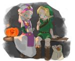1boy 1girl blonde_hair blue_eyes blush candy dress food halloween hat link pointy_ears princess_zelda pumpkin short_hair smile the_legend_of_zelda the_legend_of_zelda:_ocarina_of_time young_link young_zelda younger