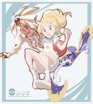 1girl backpack bag beam_gun blonde_hair braid french_braid green_eyes gun high_ponytail hood legendary_pokemon lillie_(pokemon) long_hair lunala miniskirt nomura_(buroriidesu) open_mouth pleated_skirt pokemon pokemon_(creature) pokemon_(game) pokemon_sm ponytail shirt short_sleeves skirt socks solgaleo weapon white_footwear white_shirt white_skirt