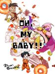 1girl 2boys :d arms_up artist_name barefoot black_eyes black_hair blush candy cape chocolate dougi dragon_ball eyebrows_visible_through_hair floating food gloves happy majin_buu mohawk multiple_boys ochanoko_(get9-sac) open_mouth pan_(dragon_ball) short_hair simple_background smile text twitter_username uub white_background wristband