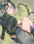 1girl amagiri_(kantai_collection) black_hair glasses grey-framed_eyewear grey_eyes itomugi-kun kantai_collection long_hair long_sleeves ponytail solo very_long_hair