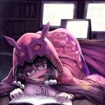 1girl black_hair blush bookshelf breast_press commentary_request constricted_pupils fate/grand_order fate_(series) glasses heavy_breathing highres hood kotatsu long_hair low_twintails manga_(object) monitor open_mouth osakabe-hime_(fate/grand_order) reading saliva solo sue_(bg-bros) table tablet top-down_bottom-up twintails under_kotatsu under_table violet_eyes