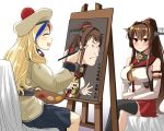 2girls beret black_skirt blonde_hair blue_hair brown_eyes brown_hair cherry_blossoms closed_eyes commandant_teste_(kantai_collection) detached_sleeves easel fine_art_parody flower hair_flower hair_ornament hat headgear highres kantai_collection legs_crossed long_hair multicolored multicolored_clothes multicolored_hair multicolored_scarf multiple_girls nihonga oriental_umbrella painting painting_(object) palette parody pleated_skirt pom_pom_(clothes) ponytail red_skirt redhead scarf single_thighhigh sitting skirt streaked_hair style_parody thigh-highs ukiyo-e umbrella white_hair yamato_(kantai_collection) yong-gok you're_doing_it_wrong
