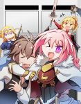2girls 3boys armor bandeau black_bow blonde_hair blue_eyes bow braid cape clarent commentary fang fate/apocrypha fate/grand_order fate_(series) french_braid gauntlets hair_ribbon headpiece highres long_hair looking_at_viewer multicolored_hair multiple_boys multiple_girls open_mouth pink_hair ponytail ribbon rider_of_black ruler_(fate/apocrypha) saber_of_red scrunchie shishigou_kairi sieg_(fate/apocrypha) single_braid smile standard_bearer streaked_hair trap violet_eyes xin_yu_hua_yin