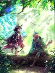 1boy 1girl animal_ears archer_(fate/extra) bird boots cigarette cloak clover crossover erun_(granblue_fantasy) fate/extra fate_(series) forest granblue_fantasy jewelry kaneda_gbf legs_crossed looking_at_another nature necklace open_mouth orange_hair sitting skasaha_(granblue_fantasy) tree