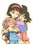 1girl 2boys ;) black_hair blush_stickers chinese_clothes closed_eyes dragon_ball dragon_ball_super dragonball_z eyebrows_visible_through_hair hand_on_own_face hands_on_another's_shoulder happy hug multiple_boys one_eye_closed open_mouth overalls purple_hair short_hair simple_background smile son_goten trunks_(dragon_ball) videl violet_eyes white_background wristband yochimune