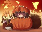 1girl absurdres artist_request blush brown_eyes cattail closed_mouth eyebrows_visible_through_hair highres looking_at_viewer plant pumpkin purple_hair short_hair solo touhou yasaka_kanako