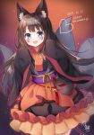 1girl animal_ears blue_eyes brown_hair dated facial_mark fang fox_ears fox_mask fox_tail happy_halloween highres japanese_clothes long_hair looking_at_viewer mask multiple_tails open_mouth original sleeves_past_wrists standing tail wide_sleeves yatsuki_yura