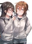 2girls alternate_costume backpack bag black_blouse black_hair black_legwear blouse blush brown_eyes brown_hair candy food hatsushimo_(kantai_collection) hood hooded_jacket jacket juurouta kantai_collection lollipop long_hair long_sleeves low-tied_long_hair multiple_girls open_mouth red_eyes short_hair shorts smile twitter_username wakaba_(kantai_collection) white_background