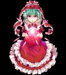 1girl :o alternate_eye_color bangs black_background commentary_request dress e.o. frilled_dress frills front_ponytail full_body glowing green_hair hair_ribbon highres kagiyama_hina layered_dress long_hair looking_at_viewer pink_eyes puffy_short_sleeves puffy_sleeves red_dress red_ribbon ribbon short_sleeves simple_background solo touhou