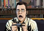 >:( 1boy angry angry_video_game_nerd blue_eyes brown_hair controller couch d:< game_console game_controller glasses hands highres james_rolfe male_focus nes open_mouth real_life shelf shirt suzushiro_(suzushiro333) white_shirt