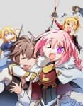 2girls 3boys armor bandeau black_bow blonde_hair blue_eyes bow braid cape clarent commentary fang fate/apocrypha fate/grand_order fate_(series) french_braid gauntlets hair_ribbon headpiece highres long_hair looking_at_viewer multicolored_hair multiple_boys multiple_girls open_mouth pink_hair ponytail ribbon rider_of_black ruler_(fate/apocrypha) saber_of_red scrunchie shishigou_kairi sieg_(fate/apocrypha) silver_background single_braid smile standard_bearer streaked_hair trap violet_eyes xin_yu_hua_yin