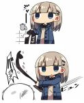 1girl 2koma bangs blue_eyes blue_jacket blunt_bangs blush_stickers closed_mouth collared_shirt comic commentary_request copyright_request empty_eyes expressionless faucet grey_hair hair_ornament hairclip jacket kanikama long_sleeves masochism neck_ribbon open_clothes open_jacket ribbon shirt simple_background slapping vest white_background