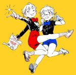 2boys black_shirt blue_shorts brothers clenched_teeth contract cuphead cuphead_(game) drinking_straw full_body gijinka mugman multiple_boys personification red_shorts rem_(artist) shirt short_sleeves shorts siblings simple_background teeth white_hair yellow_background