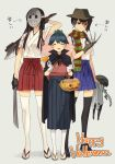 3girls a_nightmare_on_elm_street akagi_(kantai_collection) brown_eyes brown_hair claws cosplay freddy_krueger freddy_krueger_(cosplay) friday_the_13th gloves hakama hakama_skirt halloween happy_halloween hat hockey_mask houshou_(kantai_collection) japanese_clothes jason_voorhees jason_voorhees_(cosplay) kaga_(kantai_collection) kantai_collection long_hair mask multiple_girls partly_fingerless_gloves ponytail side_ponytail smile striped thigh-highs translation_request trick_or_treat weapon yamashiki_(orca_buteo)