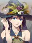 1girl bare_shoulders black_hair blue_eyes collar collarbone ear_piercing halloween hat highres long_hair looking_at_viewer original piercing sleeveless solo tennohi upper_body witch_hat