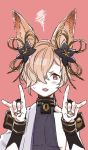 1boy \m/ animal_ears blush erun_(granblue_fantasy) fang fox_ears gloves granblue_fantasy hair_ornament kogai_aki kou_(granblue_fantasy) male_focus nail_polish red_eyes