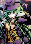 1girl batman_(series) breasts canine cleavage cosplay dc_comics formal gloves green_eyes green_hair head_wings highres large_breasts long_hair long_sleeves makeup morrigan_aensland necktie smile solo suit the_joker the_joker_(cosplay) vampire_(game) vermillion_dice wings