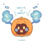 :d candy cosmog floating food halloween legendary_pokemon looking_at_viewer lowres no_humans open_mouth pokemon pokemon_(creature) pokemon_(game) pokemon_sm pumpkin_costume simple_background smile solid_oval_eyes toku_(ke7416613) trick_or_treat white_background yellow_eyes