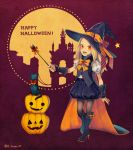 1girl blonde_hair dark_skin dress flaxvivi full_body gravity_daze gravity_daze_2 hat kitten_(gravity_daze) long_hair looking_at_viewer pumpkin red_eyes smile solo wand witch witch_hat younger