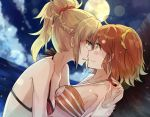 2girls against_tree ahoge aili_(aliceandoz) bare_shoulders beach bikini blonde_hair braided_bun breasts cleavage cleavage_cutout closed_mouth clouds collarbone couple dutch_angle eye_contact fate/grand_order fate_(series) female fujimaru_ritsuka_(female) full_moon green_eyes highres incipient_kiss light_particles looking_at_another medium_breasts moon multiple_girls neck night night_sky ocean orange_bikini orange_hair orange_swimsuit palm_tree ponytail red_bikini red_swimsuit saber_of_red scrunchie sea short_hair side_ponytail sky small_breasts striped striped_bikini striped_swimsuit swimsuit tree type-moon water wrist_grab yellow_eyes yuri