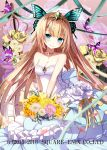 1girl bangs bare_arms bare_shoulders blonde_hair blunt_bangs blush bouquet butterfly butterfly_hair_ornament closed_mouth diadem dress eyebrows_visible_through_hair flower gem green_eyes hair_ornament happy head_tilt holding holding_bouquet jewelry kaku-san-sei_million_arthur kneeling long_hair looking_at_viewer necklace official_art rose smile solo sword very_long_hair watermark weapon wedding_dress yellow_rose yuuki_kira