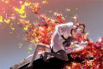 androgynous asymmetrical_legwear black_neckwear butterfly collared_shirt gloves houseki_no_kuni labcoat long_hair micho multicolored_hair necktie padparadscha_(houseki_no_kuni) rutile_(houseki_no_kuni) shirt shorts uniform very_long_hair white_skin
