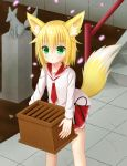 1girl :t absurdres animal_ears bangs black_ribbon blonde_hair box character_request closed_mouth commentary_request crack day donation_box eyebrows_visible_through_hair fox_ears fox_girl fox_tail green_eyes hair_between_eyes hakuto_momiji hidan_no_aria highres holding holding_box long_hair long_sleeves looking_at_viewer necktie outdoors petals pleated_skirt pout railing red_neckwear red_skirt ribbon school_uniform serafuku shirt skirt solo stairs standing statue stone_stairs tail white_shirt