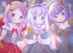3girls :d :o animal_ears bangs bare_shoulders bat_hair_ornament bell bell_choker black_capelet black_dress black_gloves black_hat black_neckwear black_ribbon black_skirt blue_eyes blue_hair blush bone_hair_ornament bow brown_eyes brown_hair camisole candy_wrapper capelet cat_ears cat_paws center_frills chimame-tai choker collarbone commentary_request criss-cross_halter demon_horns demon_tail demon_wings dress eyebrows_visible_through_hair frilled_sleeves frills ghost gloves gochuumon_wa_usagi_desu_ka? hair_between_eyes hair_bow hair_ornament hair_ribbon halloween halter_top halterneck hat holding holding_staff horns jingle_bell jouga_maya kafuu_chino long_hair long_sleeves looking_at_viewer low_twintails multiple_girls natsu_megumi open_mouth orange_bow orange_ribbon parted_lips paw_gloves paws polearm purple_bow red_bow red_skirt ribbon rin_(fuwarin) ringlets shirt skirt sleeveless sleeveless_dress smile staff tail trident twintails upper_teeth weapon white_shirt wings witch witch_hat x_hair_ornament yellow_eyes