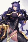 1girl armor black_armor black_panties breasts camilla_(fire_emblem_if) capelet cleavage dantewontdie fire_emblem fire_emblem_if gauntlets gradient gradient_background hair_over_one_eye large_breasts lips long_hair looking_at_viewer panties parted_lips purple_hair simple_background smile solo thigh-highs tiara underwear very_long_hair violet_eyes
