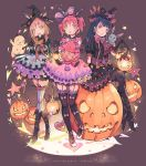 3girls animal_ears black_hair blush brown_hair detached_sleeves earrings fake_animal_ears full_body garter_straps gloves green_eyes hair_bun halloween hat head_wings highres jack-o'-lantern jewelry kunikida_hanamaru kurosawa_ruby long_hair looking_at_viewer love_live! love_live!_sunshine!! multiple_girls pink_hair qianqian short_hair short_twintails sitting standing thigh-highs tsushima_yoshiko twintails wings witch_hat yellow_eyes