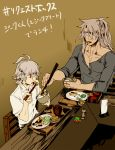 2boys ahoge bangs brown_background chopsticks dark_skin dishes eating fate/apocrypha fate/grand_order fate_(series) food grey_shirt holding_chopsticks long_hair male_focus mine_(odasol) multiple_boys ponytail red_eyes saber_of_black shirt short_hair sieg_(fate/apocrypha) silver_hair table white_shirt yaoi