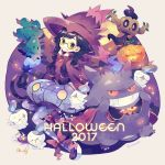1girl 2017 black_eyes black_hair blue_legwear braid brooch candy cape chandelure character_request commentary_request cosplay fingers_to_cheeks food gengar grin halloween hat jack-o'-lantern jewelry leg_ribbon litwick lollipop long_hair long_sleeves looking_at_viewer mimikyu misdreavus misdreavus_(cosplay) mismagius_(cosplay) pantyhose phantump platform_footwear pokemon pokemon_(creature) purple_cape red_eyes ribbon round_eyewear skirt smile sparkle twin_braids twitter_username wavy_mouth witch_hat yellow-tinted_glasses yumenouchi_chiharu |_|
