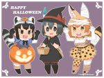 >:d 3girls :d alternate_costume alternate_headwear animal_ears bag bandage bandaged_ear bandaged_head basket black_eyes black_gloves black_hair blonde_hair bow bowtie breasts brown_eyes capriccyo chibi claw_pose commentary common_raccoon_(kemono_friends) elbow_gloves extra_ears eyebrows_visible_through_hair fang food fur_collar gloves grey_hair hair_between_eyes halloween halloween_costume hat highres jack-o'-lantern japari_bun kaban_(kemono_friends) kemono_friends medium_breasts multicolored_hair multiple_girls open_mouth outline print_gloves print_legwear print_neckwear print_skirt raccoon_ears raccoon_tail serval_(kemono_friends) serval_ears serval_print serval_tail simple_background skirt smile striped_tail tail thigh-highs twitter_username witch_hat yellow_eyes