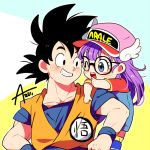 1boy 1girl ;d artist_name azu_(kirara310) baseball_cap bird_studio black_eyes black_hair blue_background blue_eyes blush_stickers character_name crossover dougi dr._slump dragon_ball dragonball_z eyebrows_visible_through_hair glasses happy hat illustrator_connection looking_at_viewer norimaki_arale one_eye_closed open_mouth orange_background overalls purple_hair red_shirt shirt short_hair shounen_jump shueisha simple_background smile son_gokuu spiky_hair toei_animation toriyama_akira_(style) white_background winged_hat wristband