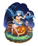 1girl bat blue_hair candy dress food full_body halloween hatsune_miku highres jack-o'-lantern kneehighs lollipop long_hair mwwhxl open_mouth shoes sitting sneakers solo swirl_lollipop twintails very_long_hair vocaloid